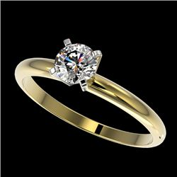 0.54 CTW Certified H-SI/I Quality Diamond Solitaire Engagement Ring 10K Yellow Gold - REF-54M2F - 36