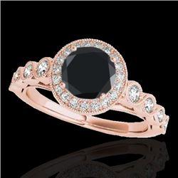1.5 CTW Certified Vs Black Diamond Solitaire Halo Ring 10K Rose Gold - REF-68M2F - 33602