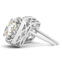 3 CTW Diamond VS/SI Certified Cushion Cut Earrings 14K White Gold - REF-871R9K - 29297