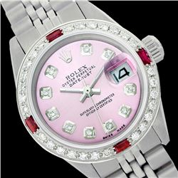 Rolex Ladies Stainless Steel, Diam Dial & Diam/Ruby Bezel, Saph Crystal - REF-355R6Z