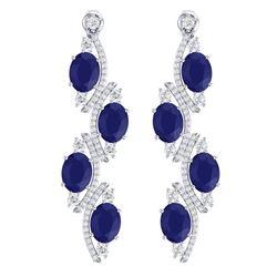 16.12 CTW Royalty Sapphire & VS Diamond Earrings 18K White Gold - REF-272N8Y - 38982