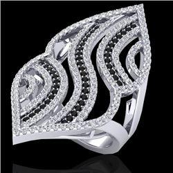 2 CTW Micro Pave Black & White VS/SI Diamond Designer Ring 14K White Gold - REF-162Y5N - 20867