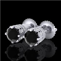 1.75 CTW Fancy Black Diamond Solitaire Art Deco Stud Earrings 18K White Gold - REF-109K3R - 37352