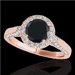 1.5 CTW Certified Vs Black Diamond Solitaire Halo Ring 10K Rose Gold - REF-73R6K - 33566