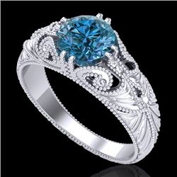 1 CTW Intense Blue Diamond Solitaire Engagement Art Deco Ring 18K White Gold - REF-190W9H - 37530