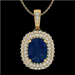 3.15 CTW Sapphire & Micro Pave VS/SI Diamond Halo Necklace 18K Yellow Gold - REF-90H9W - 20420