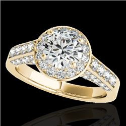 1.8 CTW H-SI/I Certified Diamond Solitaire Halo Ring 10K Yellow Gold - REF-178F2M - 34044
