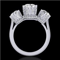 3.06 CTW VS/SI Diamond Solitaire Art Deco 3 Stone Ring 18K White Gold - REF-585M8F - 36848