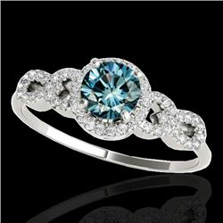 1.33 CTW SI Certified Fancy Blue Diamond Solitaire Ring 10K White Gold - REF-161R8K - 35318