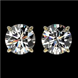 2.05 CTW Certified H-SI/I Quality Diamond Solitaire Stud Earrings 10K Yellow Gold - REF-289Y3N - 366