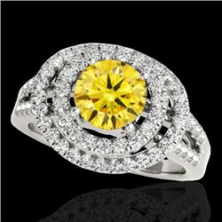 1.75 CTW Certified Si Fancy Intense Yellow Diamond Solitaire Halo Ring 10K White Gold - REF-200N2Y -