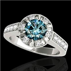 2 2 CTW SI Certified Fancy Blue Diamond Solitaire Halo Ring 10K White Gold - REF-236X4T - 34491