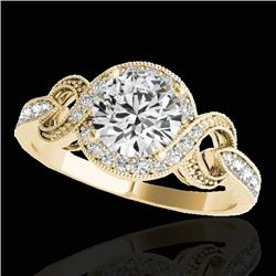 1.33 CTW H-SI/I Certified Diamond Solitaire Halo Ring 10K Yellow Gold - REF-159X6T - 33807