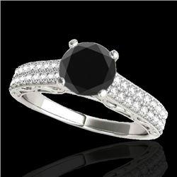 1.41 CTW Certified Vs Black Diamond Solitaire Antique Ring 10K White Gold - REF-63T5X - 34696