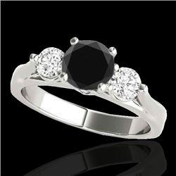1.5 CTW Certified Vs Black Diamond 3 Stone Ring 10K White Gold - REF-92M2F - 35370
