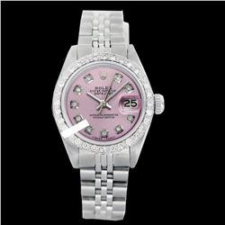 Rolex Ladies Stainless Steel, Diamond Dial & Diamond Bezel, Saph Crystal - REF-355K6R