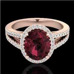 3 CTW Garnet & Micro VS/SI Diamond Certified Halo Solitaire Ring 14K Rose Gold - REF-57Y6N - 20940