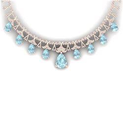 60.62 CTW Royalty Sky Topaz & VS Diamond Necklace 18K Rose Gold - REF-945K5R - 38710