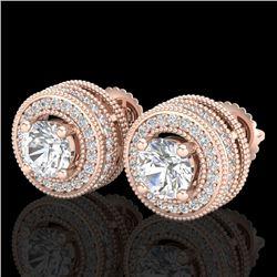 2.09 CTW VS/SI Diamond Solitaire Art Deco Stud Earrings 18K Rose Gold - REF-254K5R - 37140