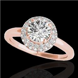 1.43 CTW H-SI/I Certified Diamond Solitaire Halo Ring 10K Rose Gold - REF-169F3M - 33662
