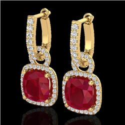 6 CTW Ruby & Micro Pave VS/SI Diamond Certified Earrings 18K Yellow Gold - REF-118M9F - 22969