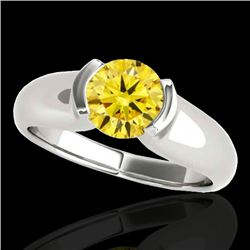1 CTW Certified Si Fancy Intense Yellow Diamond Solitaire Ring 10K White Gold - REF-207X3T - 35180