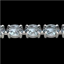 20 CTW Aquamarine Eternity Designer Inspired Tennis Bracelet 14K White Gold - REF-178X2T - 23384