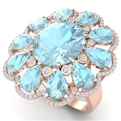 20.54 CTW Royalty Sky Topaz & VS Diamond Ring 18K Rose Gold - REF-254R5K - 39148