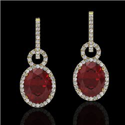 8 CTW Garnet & Micro Pave Solitaire Halo VS/SI Diamond Earrings 14K Yellow Gold - REF-90N8Y - 22738
