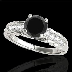 1.2 CTW Certified Vs Black Diamond Solitaire Ring 10K White Gold - REF-58F2M - 34937