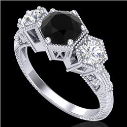 1.66 CTW Fancy Black Diamond Solitaire Art Deco 3 Stone Ring 18K White Gold - REF-123T3X - 38052