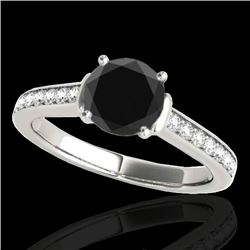 1.5 CTW Certified Vs Black Diamond Solitaire Ring 10K White Gold - REF-70W2H - 34928
