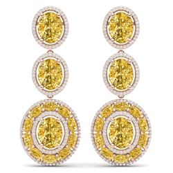 29.71 CTW Royalty Canary Citrine & VS Diamond Earrings 18K Rose Gold - REF-354N5Y - 39271