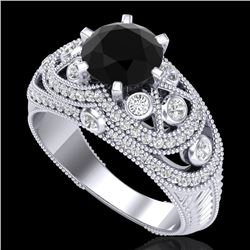 2 CTW Fancy Black Diamond Solitaire Engagement Art Deco Ring 18K White Gold - REF-172W8H - 37975