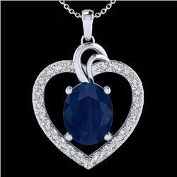4 CTW Sapphire & VS/SI Diamond Designer Inspired Heart Necklace 14K White Gold - REF-74H9W - 20496