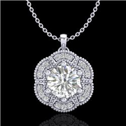 1.01 CTW VS/SI Diamond Solitaire Art Deco Stud Necklace 18K White Gold - REF-245F5M - 37109