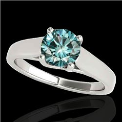 1 CTW SI Certified Fancy Blue Diamond Solitaire Ring 10K White Gold - REF-138Y2N - 35530