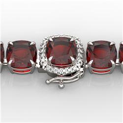 35 CTW Garnet & Micro VS/SI Diamond Halo Designer Bracelet 14K White Gold - REF-134M2F - 23309