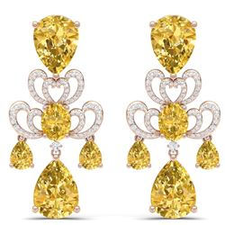 55.89 CTW Royalty Canary Citrine & VS Diamond Earrings 18K Rose Gold - REF-381T8X - 38683