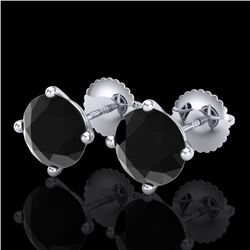 3.01 CTW Fancy Black Diamond Solitaire Art Deco Stud Earrings 18K White Gold - REF-120Y2N - 38255