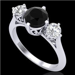 1.51 CTW Fancy Black Diamond Solitaire Art Deco 3 Stone Ring 18K White Gold - REF-134X5T - 38080