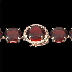 65 CTW Garnet & Micro Pave VS/SI Diamond Halo Designer Bracelet 14K Rose Gold - REF-233Y3N - 22259