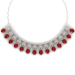 56.05 CTW Royalty Ruby & VS Diamond Necklace 18K Rose Gold - REF-1145X5T - 39064