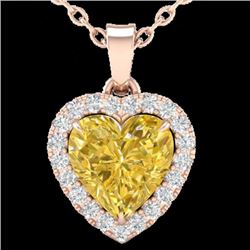 1 CTW Citrine & Micro Pave VS/SI Diamond Heart Necklace Halo 14K Rose Gold - REF-28H4W - 21335