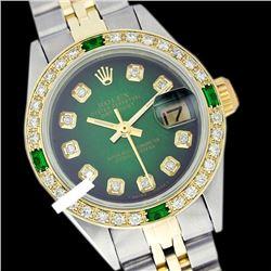 Rolex Ladies Two Tone 14K Gold/SS, Diam Dial & Diam/Emerald Bezel, Saph Crystal - REF-368A7N