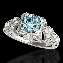 1.25 CTW SI Certified Blue Diamond Solitaire Antique Ring 10K White Gold - REF-172W8H - 34671