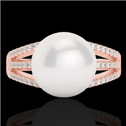 0.30 CTW Micro Pave VS/SI Diamond Certified & Pearl Designer Ring 14K Rose Gold - REF-41H8W - 22630