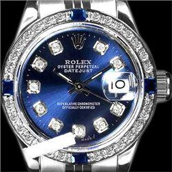 Rolex Ladies Stainless Steel, Diam Dial & Diam/Sapphire Bezel, Saph Crystal - REF-355W6K