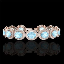 23 CTW Aquamarine & Micro Pave VS/SI Diamond Certified Bracelet 10K Rose Gold - REF-436N4Y - 22681