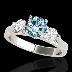 1.75 CTW SI Certified Fancy Blue Diamond 3 Stone Ring 10K White Gold - REF-241W8H - 35381